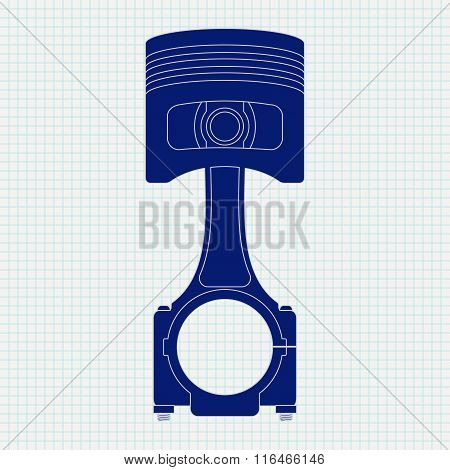 Piston Icon.  Illustration On Notebook Sheet Texture Background