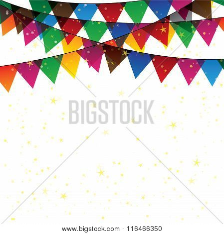 Colorful Confetti Garland Or Bunting - Vector Graphic.