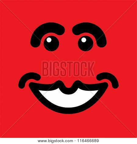 Happy Smiling Face On Red Background - Vector Graphic.