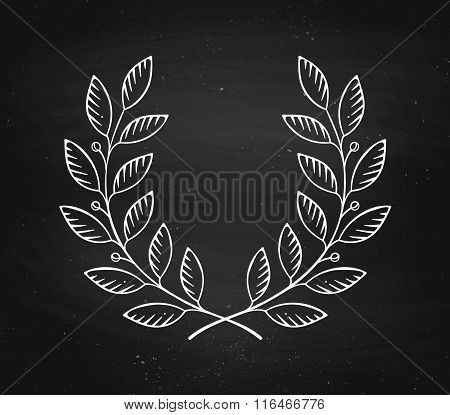 Laurel Wreath Icon Isolated On A Black Chalckboard Background And Texture. Vector Illustation.