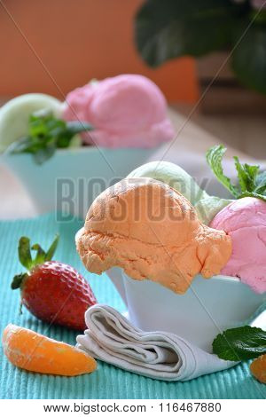 Ice Cream Of Various Flavors