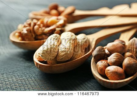 Spoons with walnuts, pistachios, almonds, acorns and peanuts, on grey wooden background