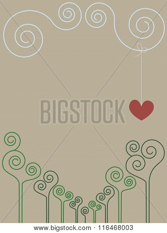 Vintage Romantic Spiral Drawing With Place For Text. No Mesh, Gradient, Transparency Used. Objects G