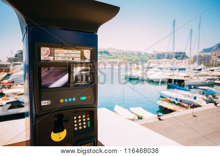 Parking machine with electronic payment at city parking.