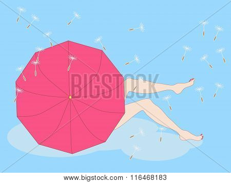 Illustration Of Girl Sitting On A Cloud Hiding Beside The Umbrella And Showing Her Legs.