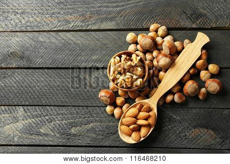 A wooden spoon, a bowl, hazelnuts, walnuts, almonds and acorns on the wooden table