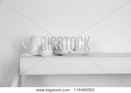 Tableware on a white background