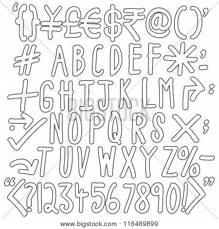 Outline Of Alphabets, Numbers And Special Characters - Hand Written Vector Icons Set.