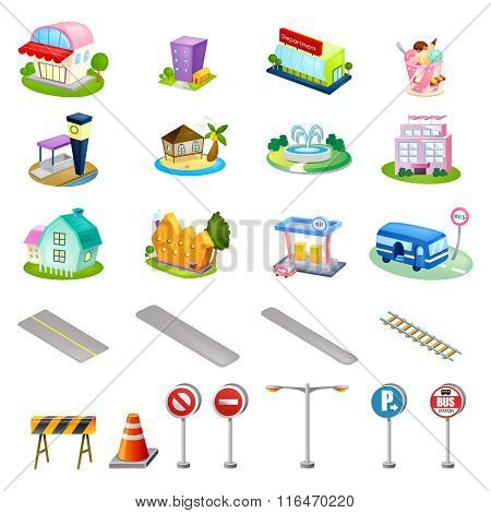 Vector Cute Cartoon City Infrastructure Illustration Set Collection