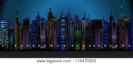 Vector Conceptual Downtown Night View