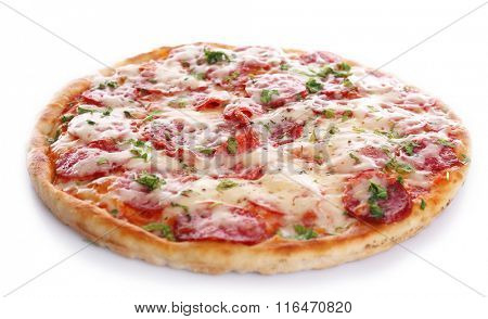 Delicious tasty pizza, isolated on white