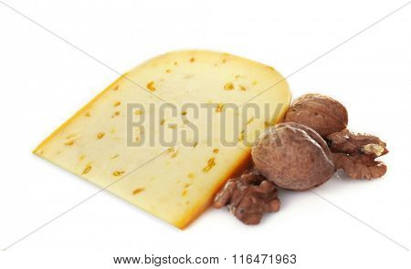 Cheese with walnuts and wine on light background