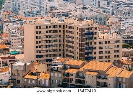 View of old multi-storey house in Marseille, France