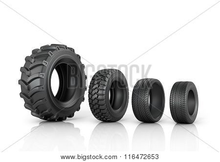 Four Different Tread Standing In A Row On A White Background.