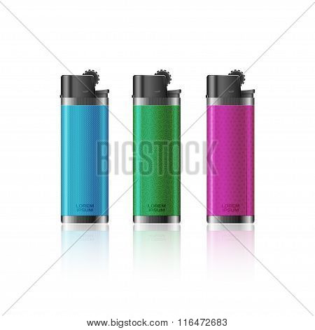 Colored lighters on white background.