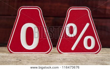 zero percent discount symbol on wooden background
