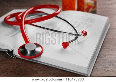 Stethoscope on a book