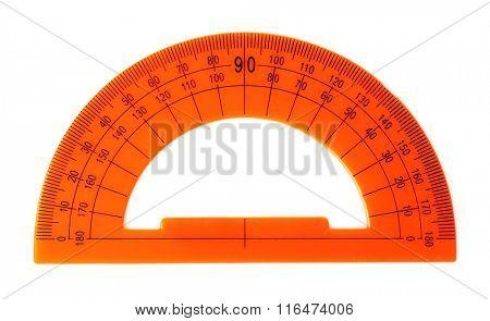 Orange protractor ruler, isolated on white