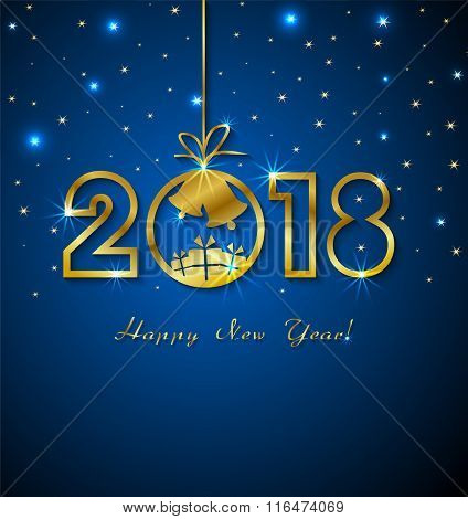 Happy New Year 2018 With Golden Numbers