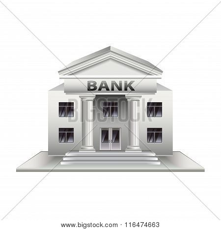 Bank Building Isolated On White Vector