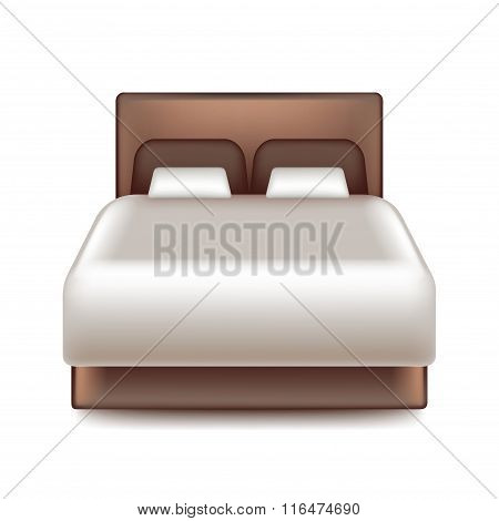 Big Bed Isolated On White Vector