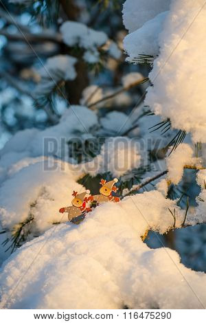 Funny Figures Of Deer On Snowy Pine Branches