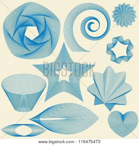 Design Elements Made Of Blue Lines On Light-yellow Background. No Mesh,gradient, Transparency Used.