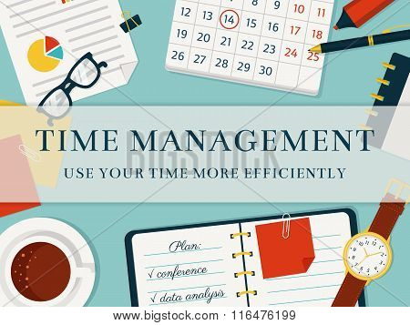 Time Management Banner. Vector Concept Background.