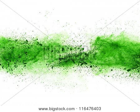 Explosion of green powder, isolated on white background