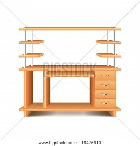 Office Desk Isolated On White Vector