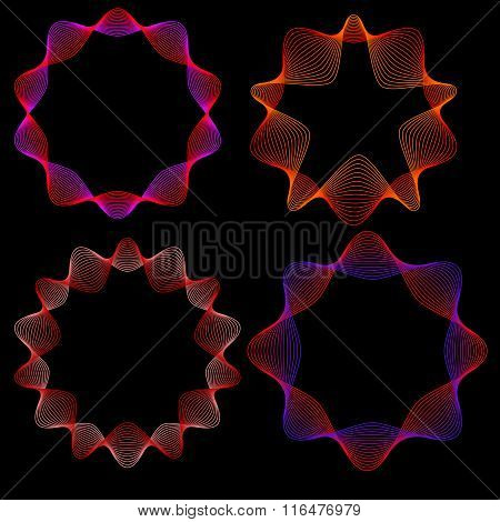 Set Of Four Neon Glowing Stars-labels. Objects Grouped And Named In English. No Mesh, Gradient, Tran