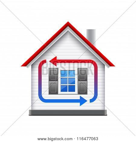 House Heating And Cooling Isolated On White Vector