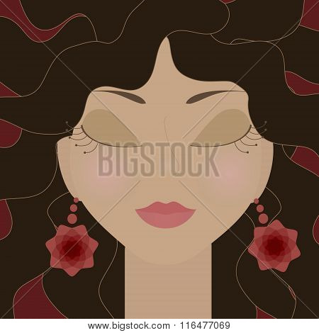 Gypsy Girl With Closed Eyes And Red Flowers Earrings. No Mesh And Transparency Used. Gradient Used.