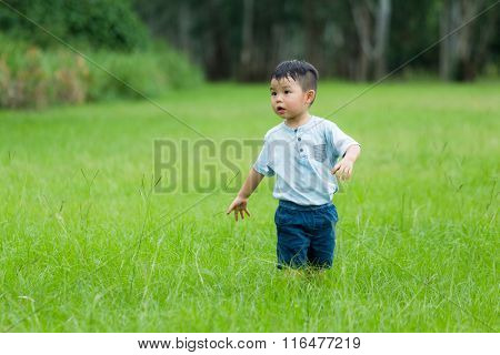 Young boy play hide and seek at park