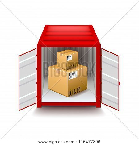 Opened Container Isolated On White Vector