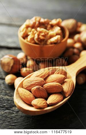 A wooden spoon, a bowl, hazelnuts, walnuts, almonds and acorns on the wooden table, close-up