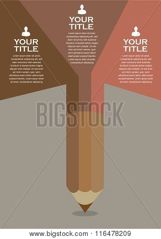 Brown Color Pencil Vector Background Layout Template