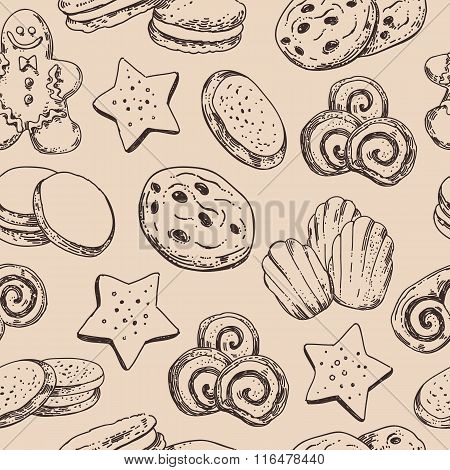 Seamless background with Hand sketched cookies and sweet pastry