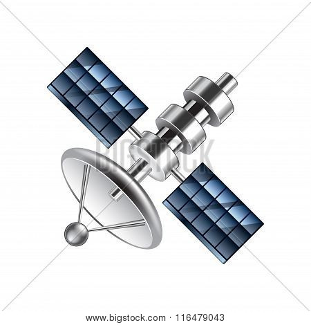 Communication Satellite Isolated On White Vector