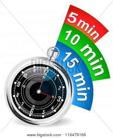 Stopwatch with bookmark vector illustration