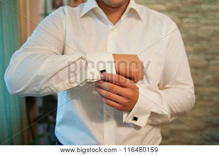 Man Wears Cufflinks On French Cuffs Sleeves Luxury White Shirt