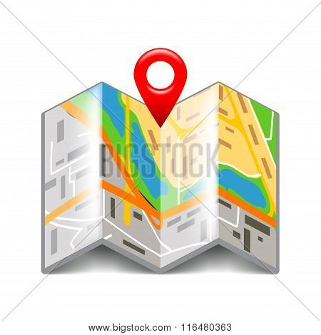 Folded Map Isolated On White Vector
