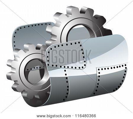 Steel settings folder vector illustration