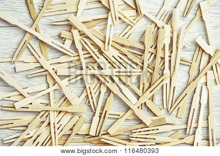 A Lot Of Wooden Toothpicks On Canapes
