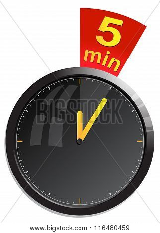 Timer 5 minutes vector illustration