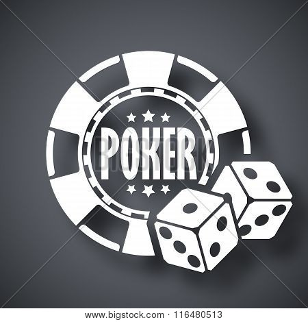Poker Chips With Two Dices, Vector Icon