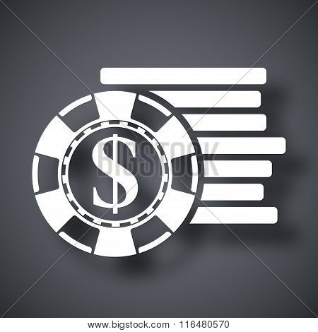 Vector Gambling Chips Icon