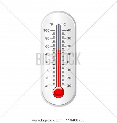 Weather Thermometer Isolated On White Vector
