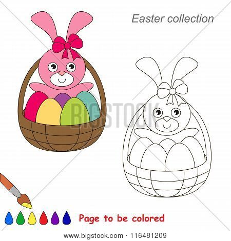 Easter Cute Bunny cartoon. Page to be colored.