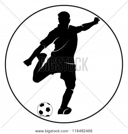 Soccer Player Silhouette Kicking The Ball
